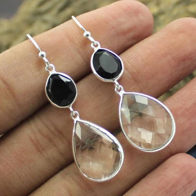 Silver Earrings with Crystal Quartz and Black Onyx Gemstones - Earrings