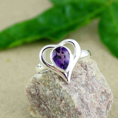 Silver Hart Shaped Ring with Purple Amethyst gemstone - Rings