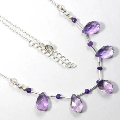 Silver Necklace with Purple Amethyst Gemstone Necklace 20 - Necklaces