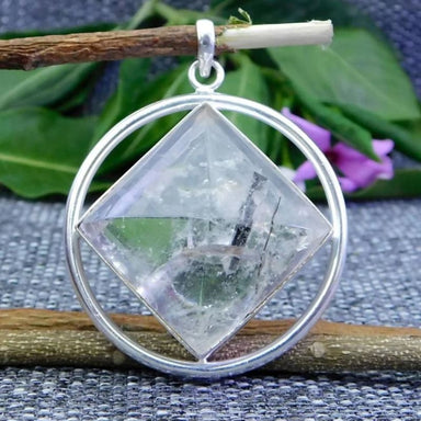 Silver Pendant with Crystal Quartz Gemstone - Necklaces