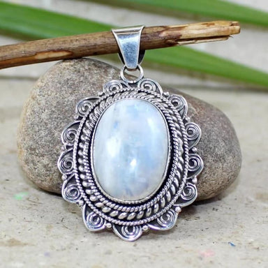 Silver Pendant with Rainbow Moonstone gemstone - Necklaces