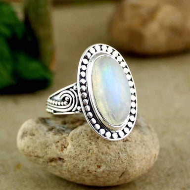 Silver Ring with Rainbow Moonstone gemstone - Rings