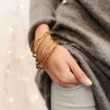 Sleek Trendy Bracelet pack of Three in Brass - Title - Bracelets