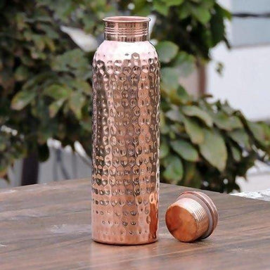 Small Hand Hammered Drinking Pure Copper Water Bottle - Kitchen Decor