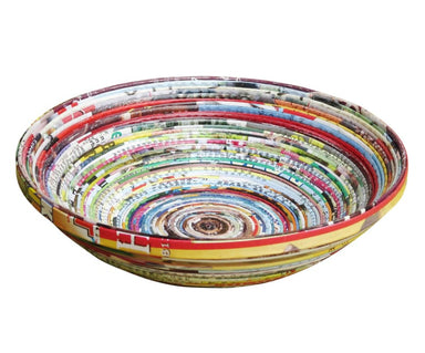 Small Recycled Magazine Bowl Made Using Upcycled Magazine Paper (diameter 20cm) - Home Decor