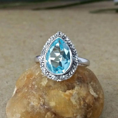 Solitaire Blue Topaz Gemstone Silver Ring - Rings