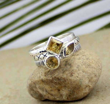 Stackable Silver Citrine Gemstone Rings - Rings