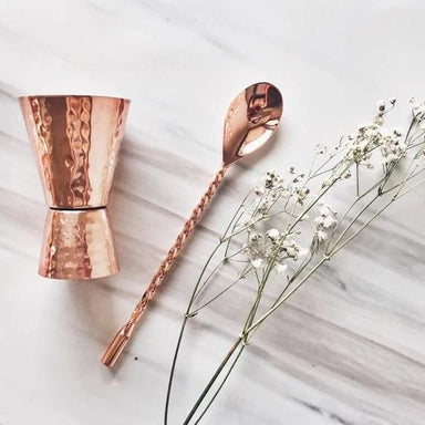 Stylish Hand Hammered Pure Copper Jigger and Spoon Set - Kitchen Decor