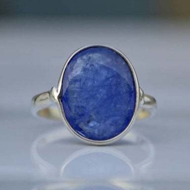 Tanzanite Faceted Blue Silver Oval Ring - Rings