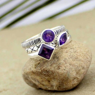 Three Multi-Shaped Stackable Purple Amethyst Silver Rings - Rings