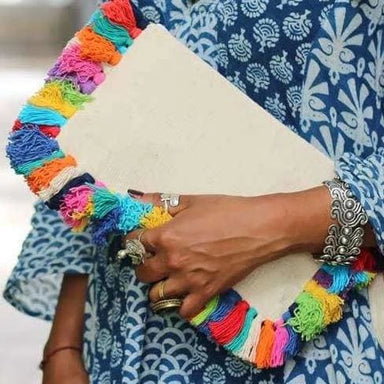 Unique Clutch with Colorful Tassels - Clutches