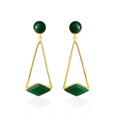 Unique Gold Plated Green Onyx Gemstone Dangle Earrings - Earrings