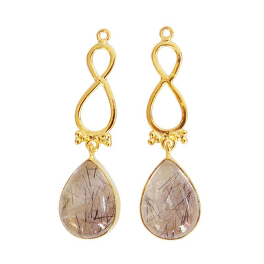 Unique Gold Plated Rutile Quartz Gemstone Dangle Earrings - Earrings
