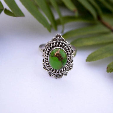 Unique Green Copper Turquoise Gemstone Ring - Rings