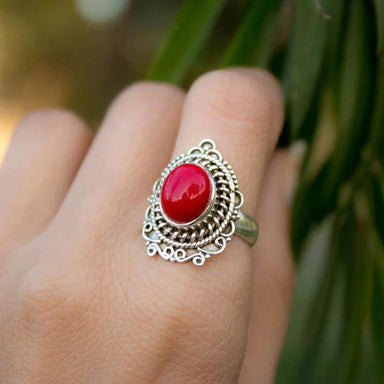Unique Red Coral Gemstone Ring in Sterling Silver - Rings