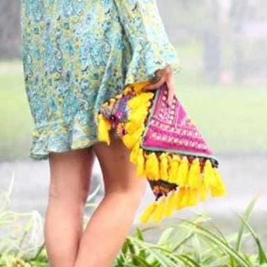 Unique Yellow and Pink Clutch with Tassels - Clutches