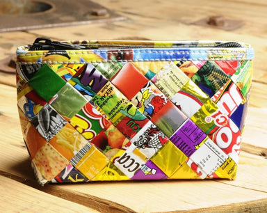 Upcycled Make-up Bag Made out of Candy Wrappers - Toiletry Bags