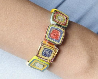 Upcycled Quilled Bracelet Made of Magazine Paper - Bracelets