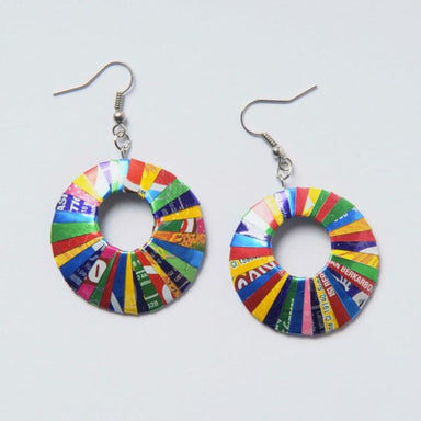Upcycled Round Shaped Earrings Crafted from Soda Cans - Earrings