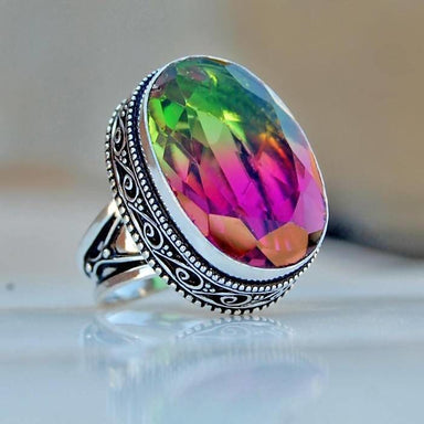 Watermelon Tourmaline Quartz Silver Ring - Rings