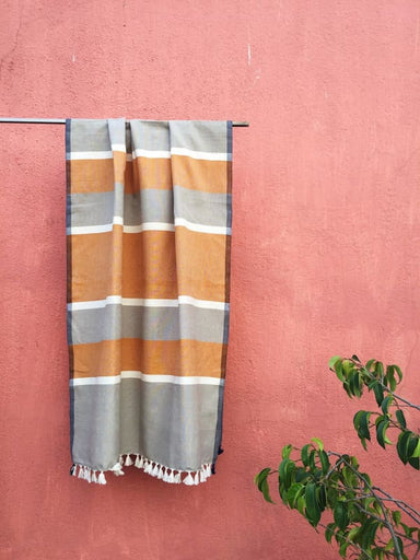 Yellow and Gray Stripped Handwoven Flat Weave Towel From Recycled Cotton - Accessories