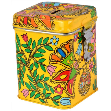 Yellow Monkey Bank Hand Painted in Folk Art of Rajasthan - Kids