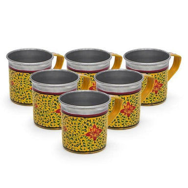 Yellow Set of Six Tea Cups in Stainless Steel - Title - Kitchen Decor