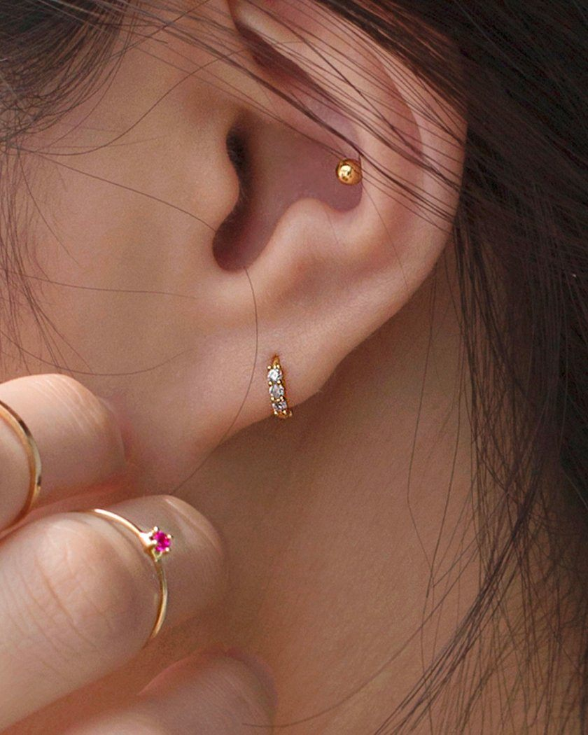 925 CUBIC PETITE RING EARRING Earrings pink-rocket