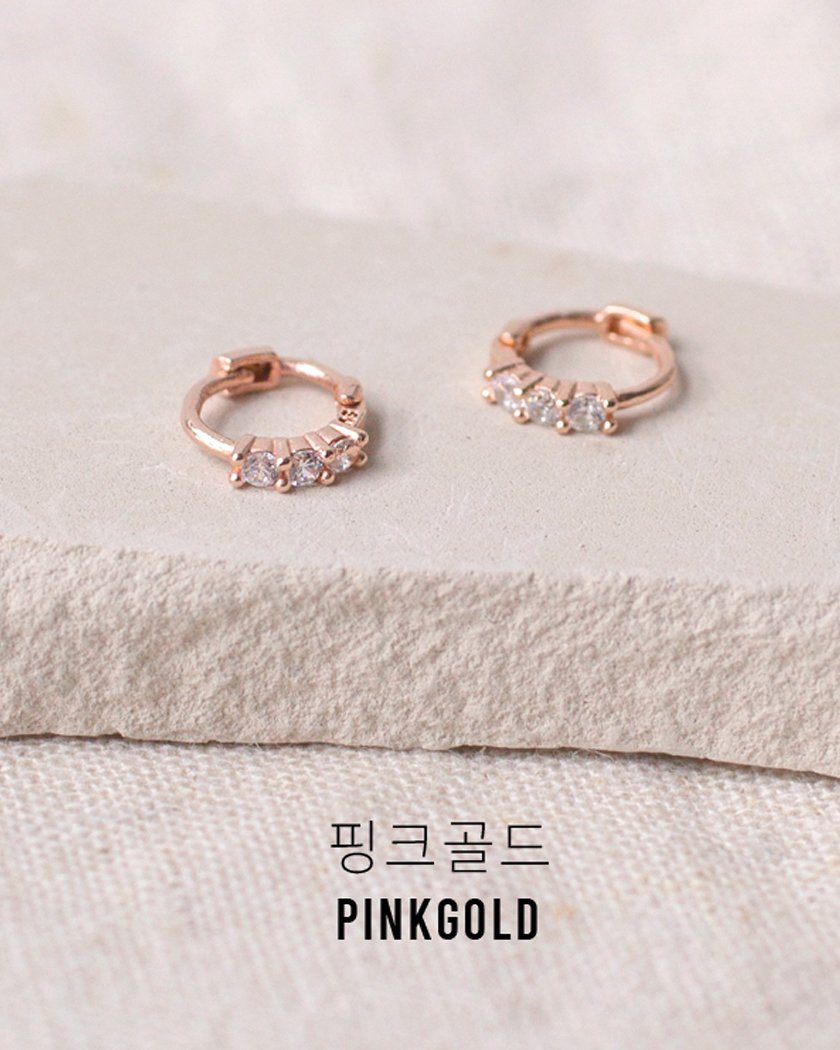 925 CUBIC PETITE RING EARRING Earrings pink-rocket Pink Gold [EC-8-18]