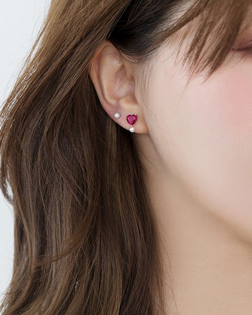 925 HEART PEARL CUBIC EARRING Earrings pink-rocket