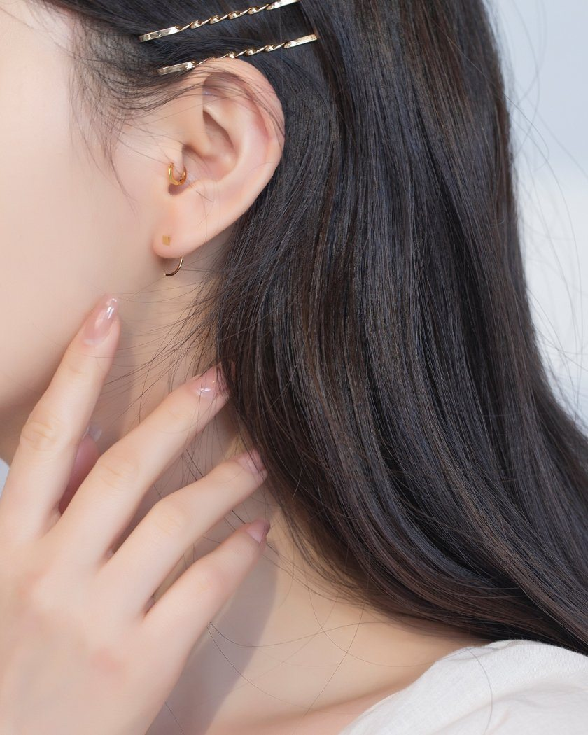 925 ICON POINT HOOK RING ピアス Earrings pink-rocket