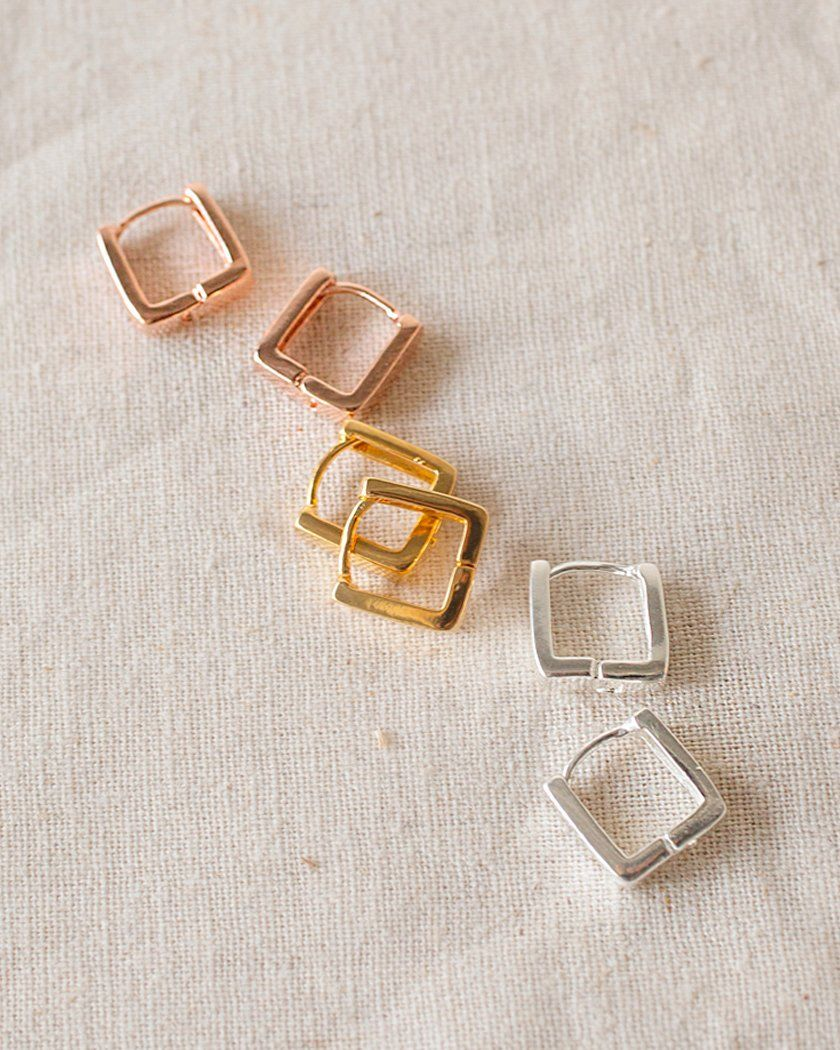 925 MINIMAL ROUND SQUARE EARRING Earrings pink-rocket
