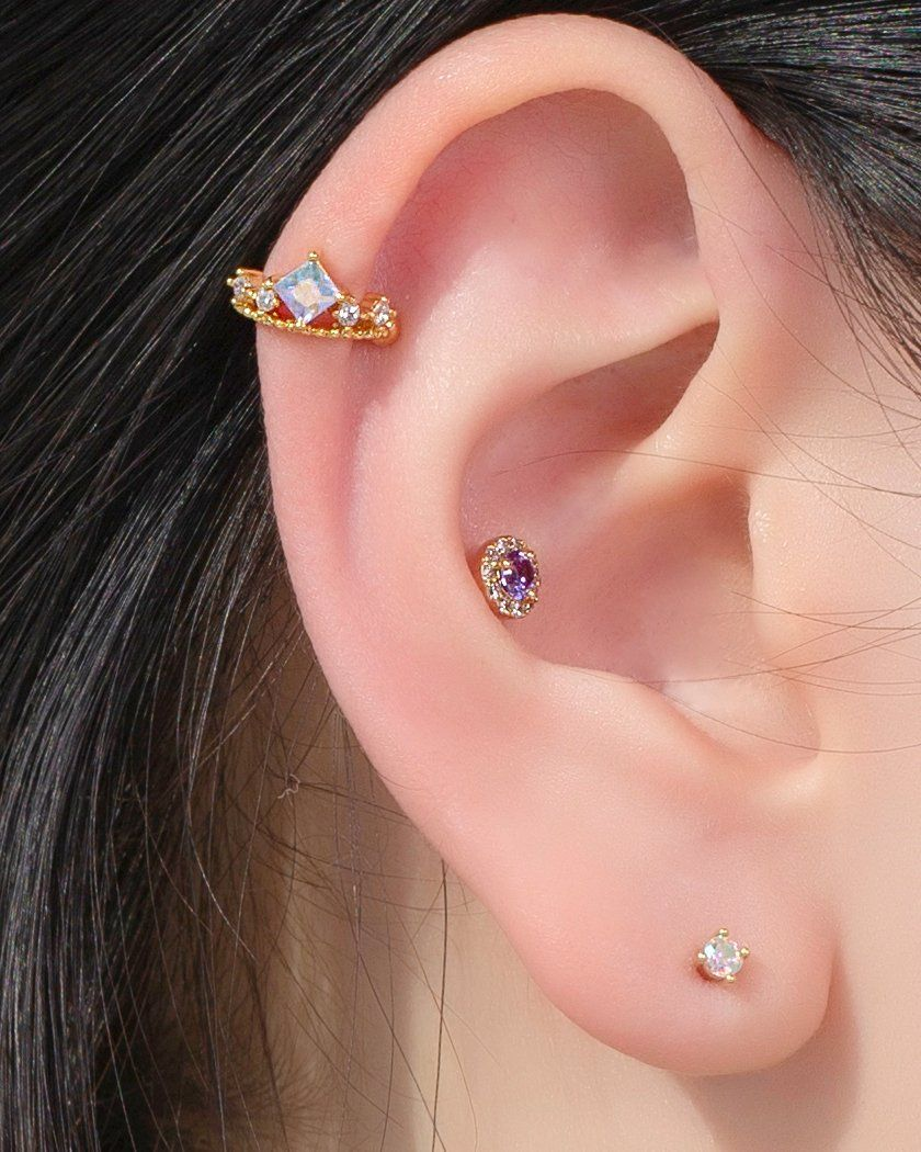 AB SQUARE CROWN イヤーカフ Earcuffs pink-rocket