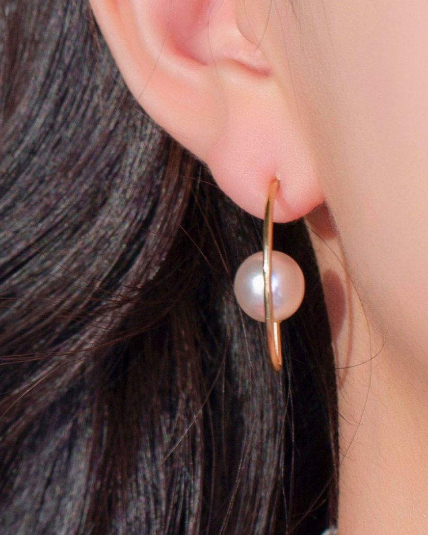 BIG PEARL & LINE HEART ピアス [8個セット] Earrings pink-rocket