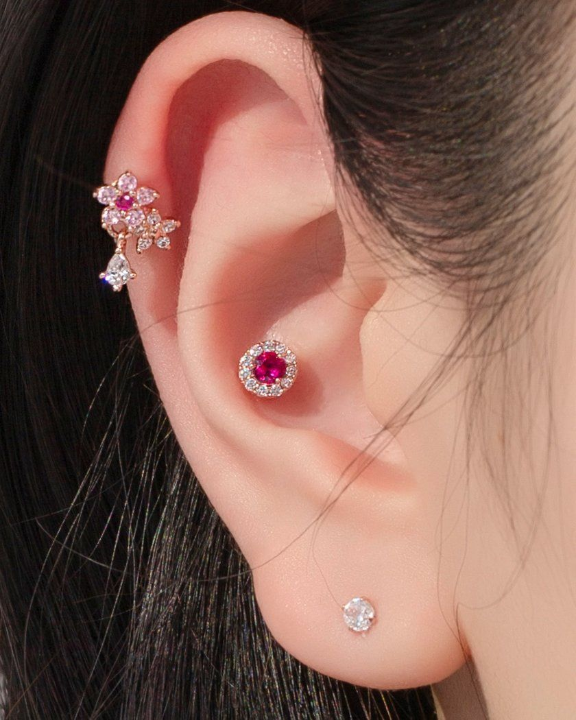 BLING CUBIC ROUND BUTTON ピアッシング Piercing pink-rocket