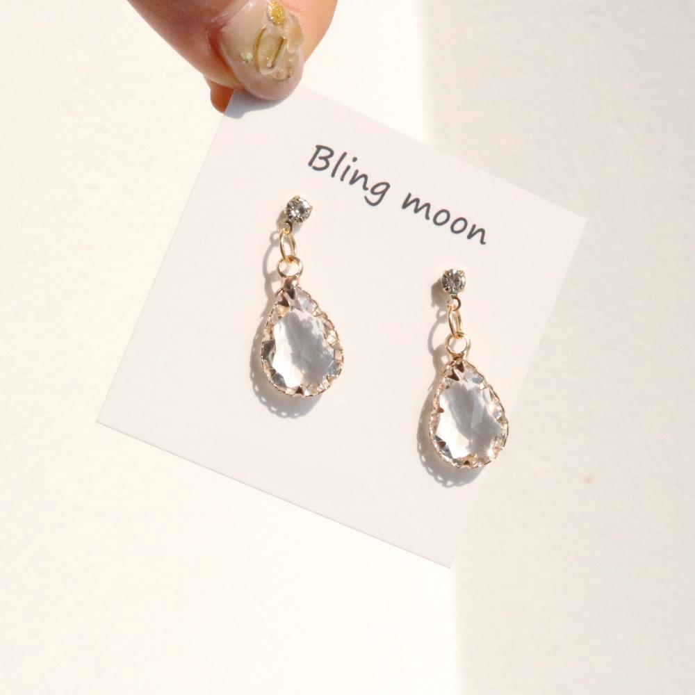 Bright Crystal Earrings & Necklace Set (2color) Earrings bling moon