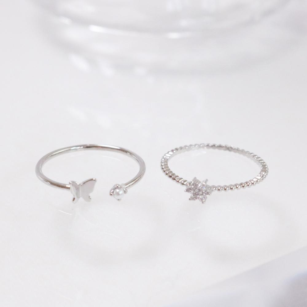 Butterfly Flower リング ring bling moon