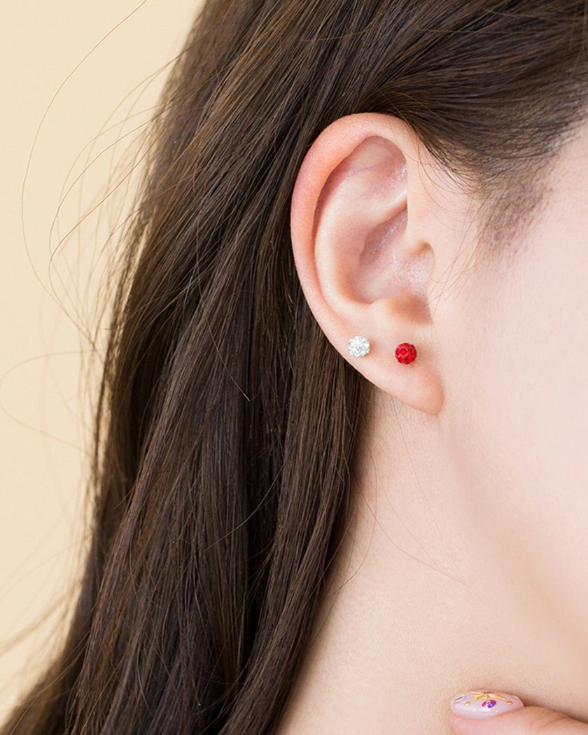 COLOR CUBIC BALL SET EARRING [4個セット] Earrings pink-rocket