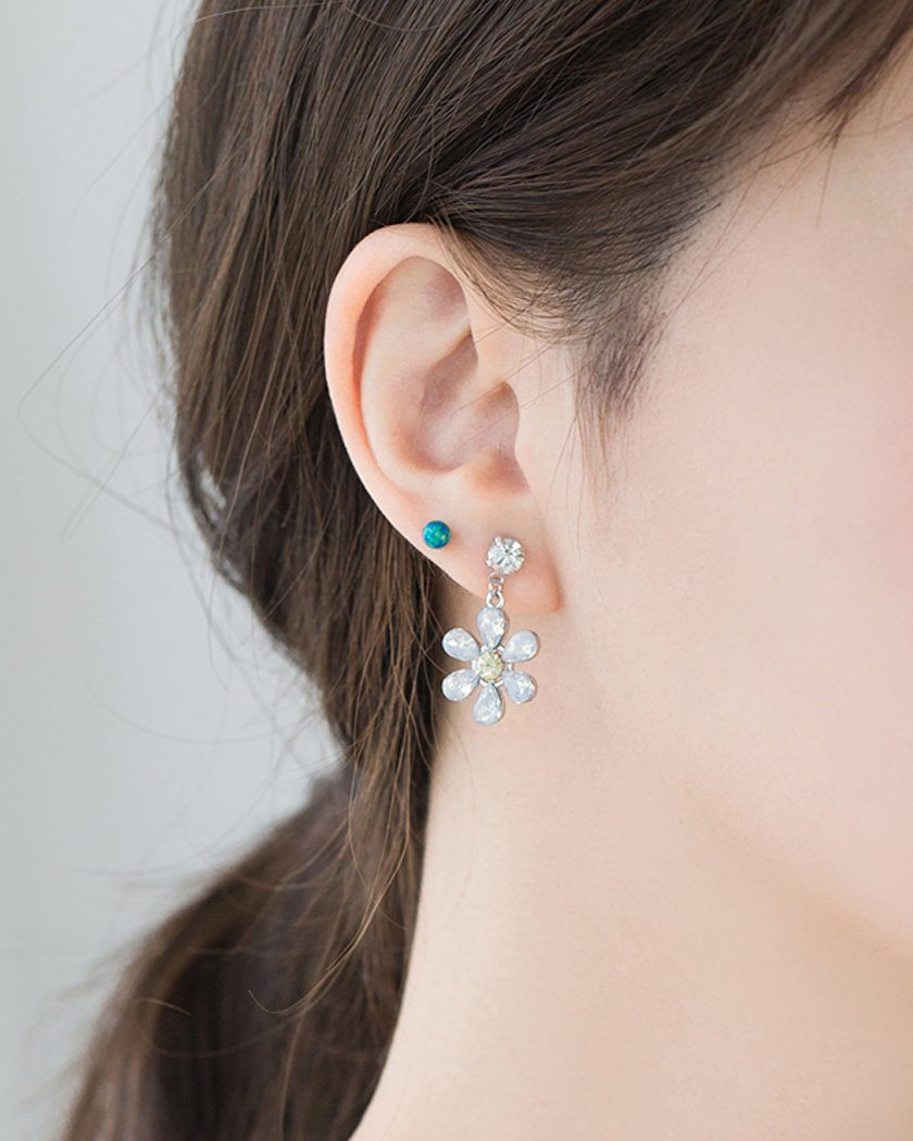 COLOR CUBIC DAISY EARRING Earrings pink-rocket