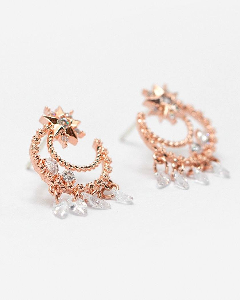 CONSTELLATION MOON DROP CUBIC EARRING Earrings pink-rocket