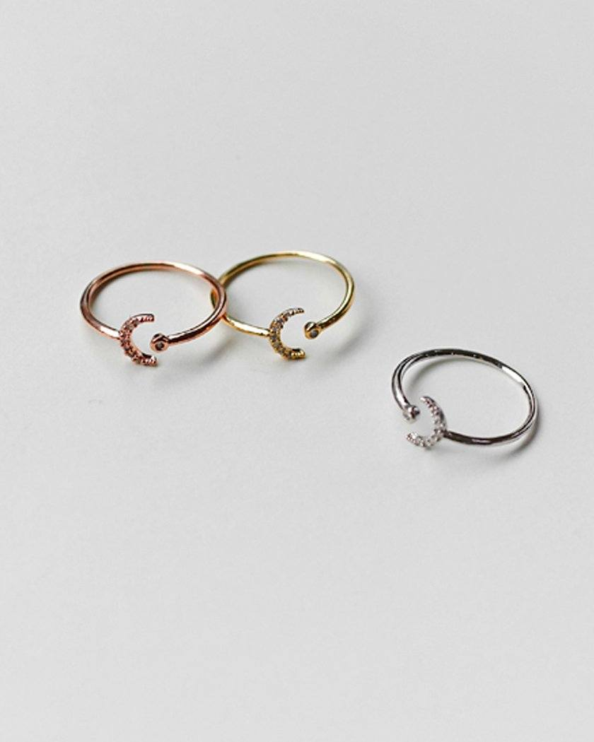CUBIC CRESCENT OPEN RING ring pink-rocket