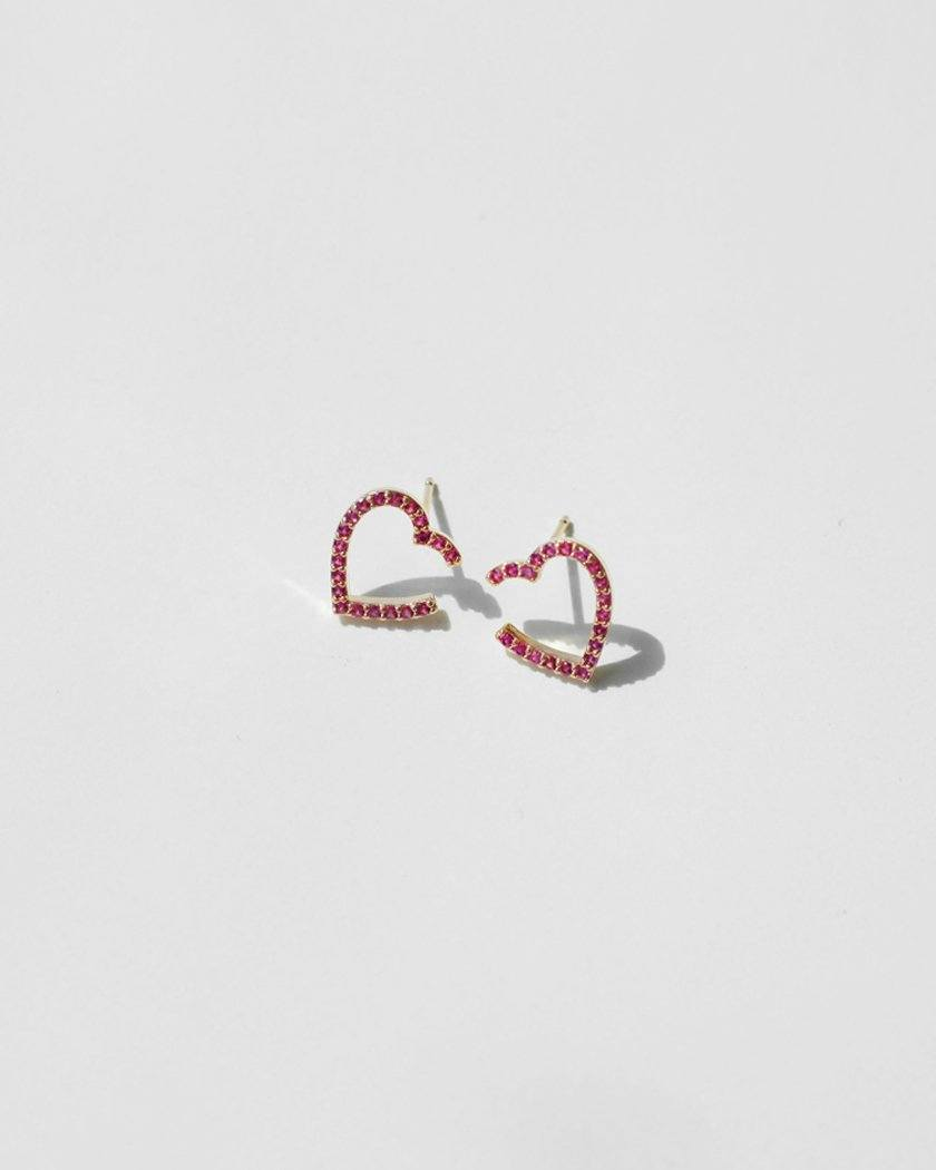 CUBIC LINE OPNE HEART EARRING Earrings pink-rocket