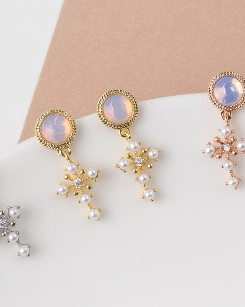 DOME & PEARL CROSS DROP EARRING Earrings pink-rocket
