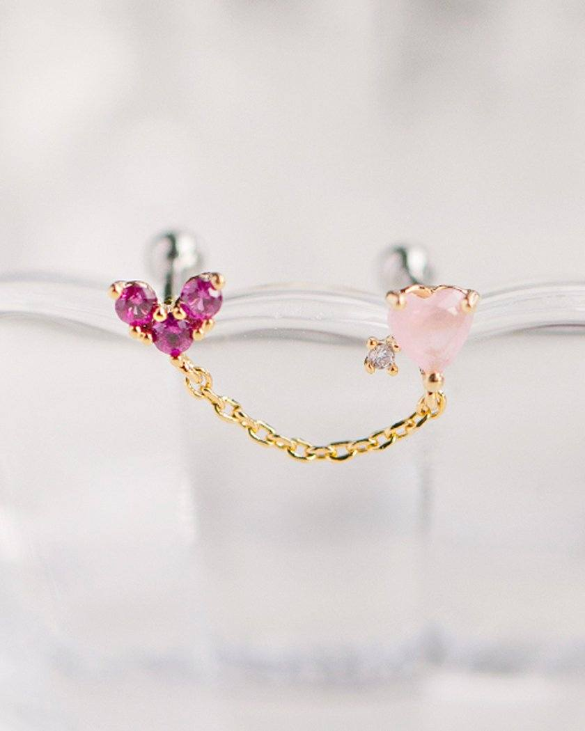 HEART & CUBIC TWO-PIN BARBELL PIERCING Piercing pink-rocket