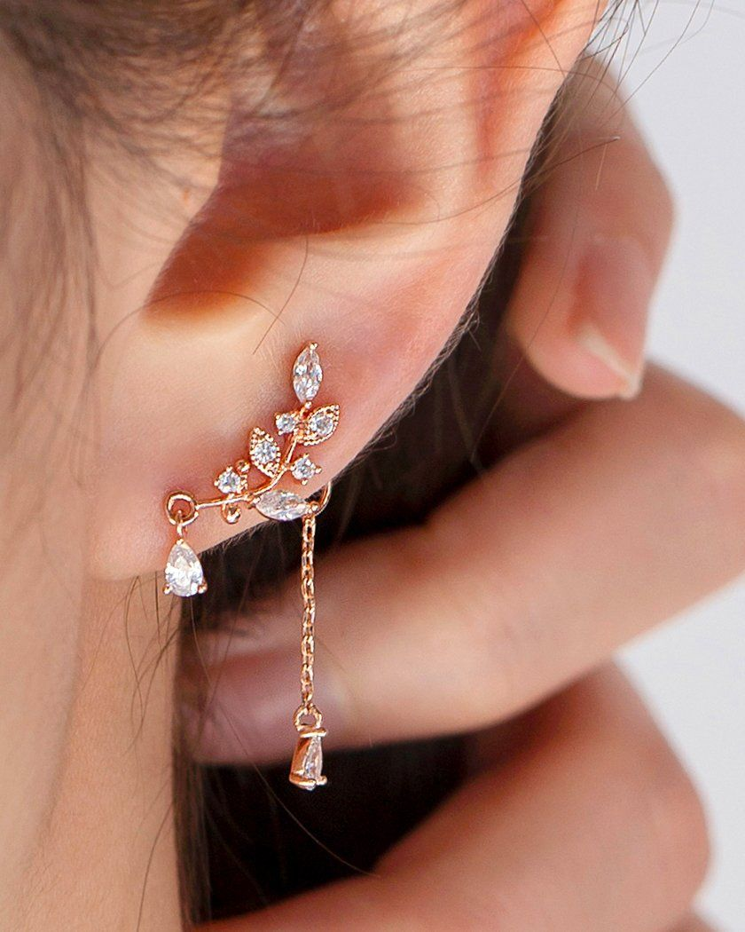 LEAF CUBIC UNBALANCE DROP EARRING Earrings pink-rocket