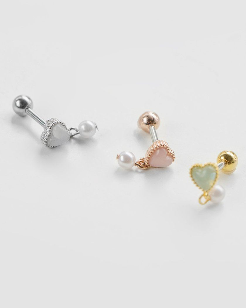 MILKY HEART & PEARL JEWELRY BARBELL Piercing pink-rocket