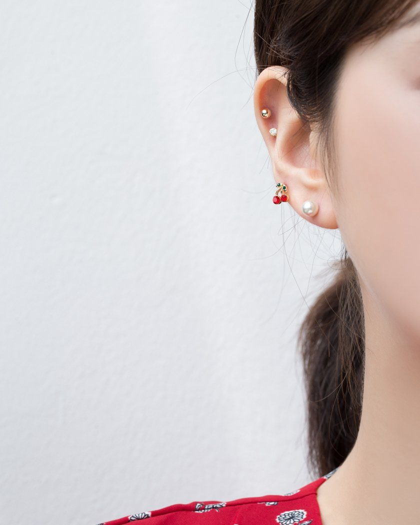 MINI CHERRY & PEARL CUBIC EARRING SET [12個セット] Earrings pink-rocket