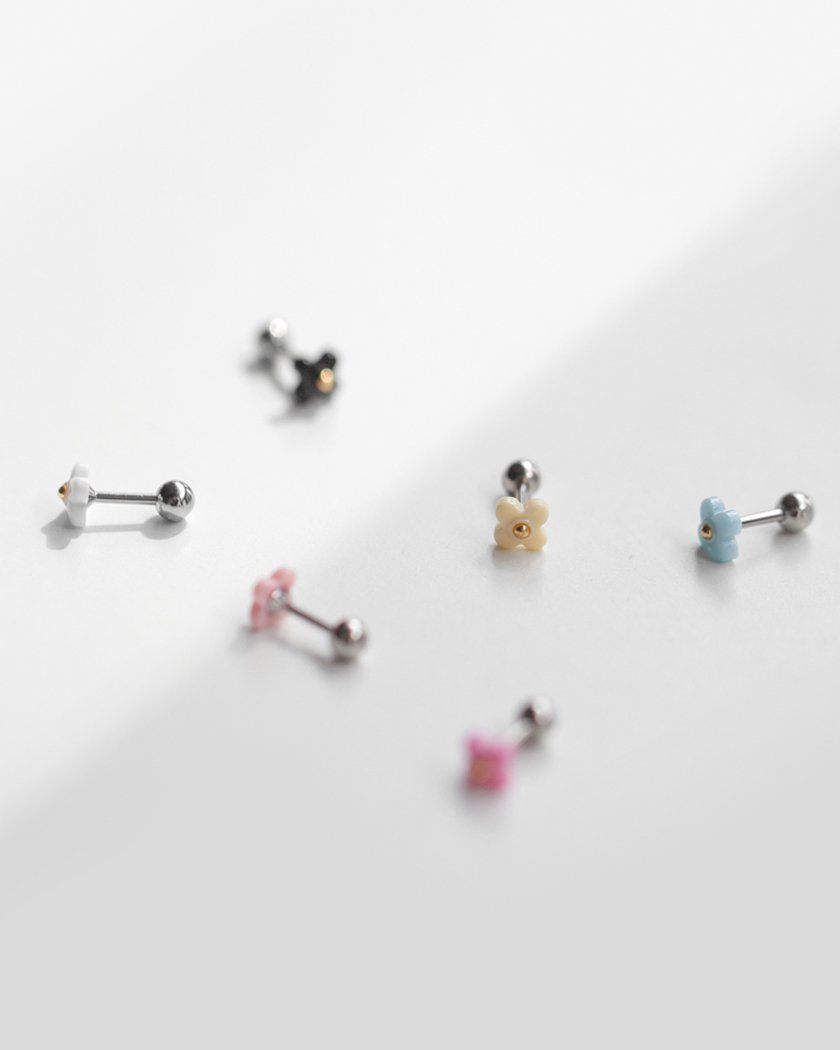 MINI PASTEL FLOWER BARBELL PIERCING Piercing pink-rocket