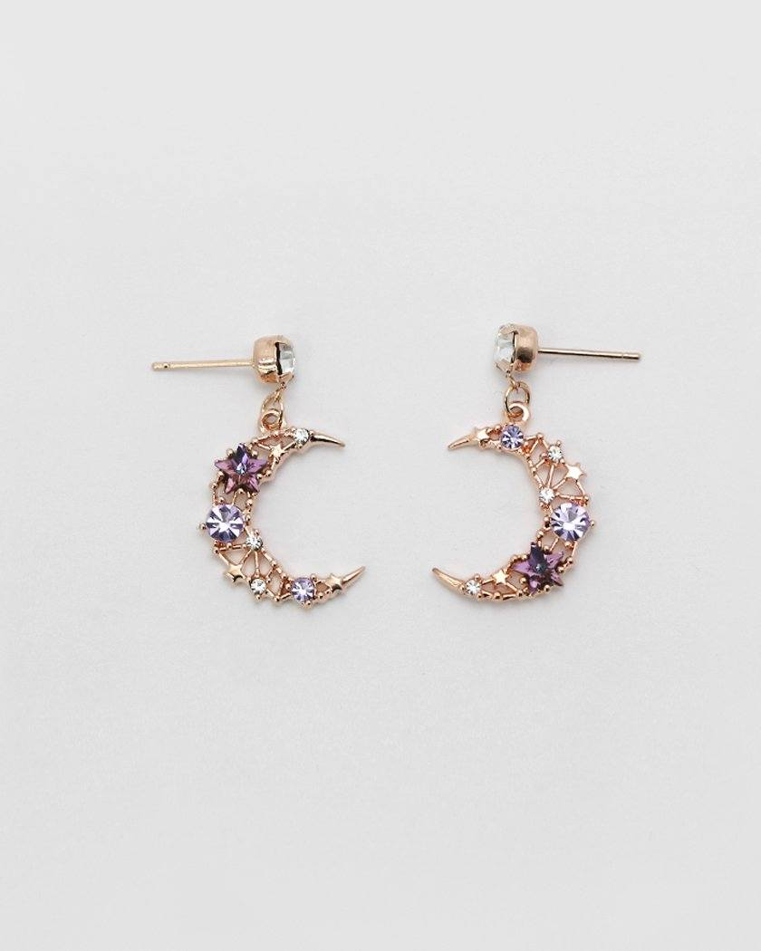 MOON CRYSTAL DROP EARRING Earrings pink-rocket