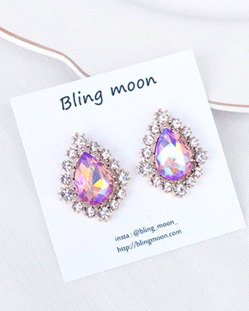 Peach Coral Antique Earrings bling moon